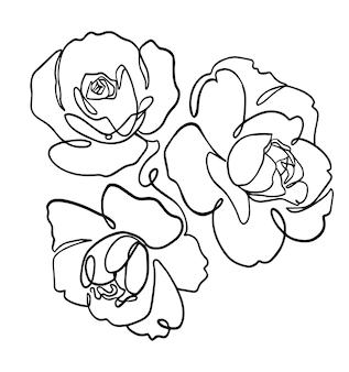 Vettore linea arte fiore penna disegno illustrazione risorsa grafica artwork Vettore Premium