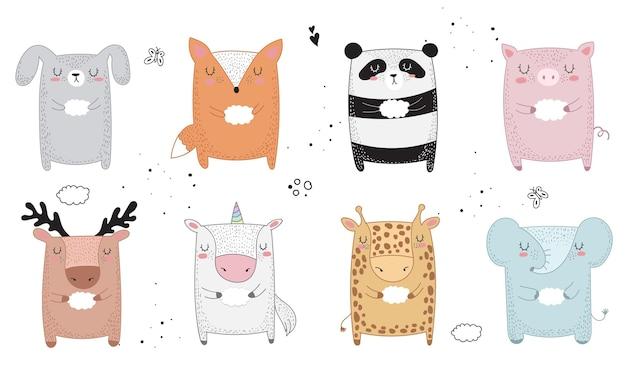 Animale di disegno vettoriale con slogan sull'amico. illustrazione di scarabocchio. giorno dell'amicizia, san valentino, anniversario, baby shower, compleanno, festa per bambini