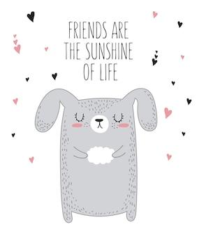 Animale di disegno vettoriale con slogan sull'illustrazione di doodle dell'amico