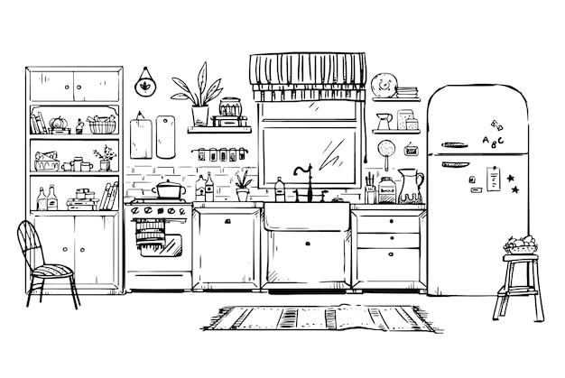 Disegno vettoriale di una cucina accogliente