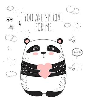 Poster di disegno vettoriale con simpatico animale e cuore. illustrazione di scarabocchio. san valentino, anniversario, baby shower, compleanno, festa per bambini