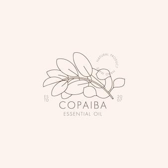 Simbolo e icona botanica lineare di vettore - copaiba. logo di design per olio essenziale copaiba. prodotto cosmetico naturale.