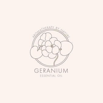 Simbolo e icona botanica lineare di vettore - geranio. logo di design per il geranio dell'olio essenziale. prodotto cosmetico naturale.