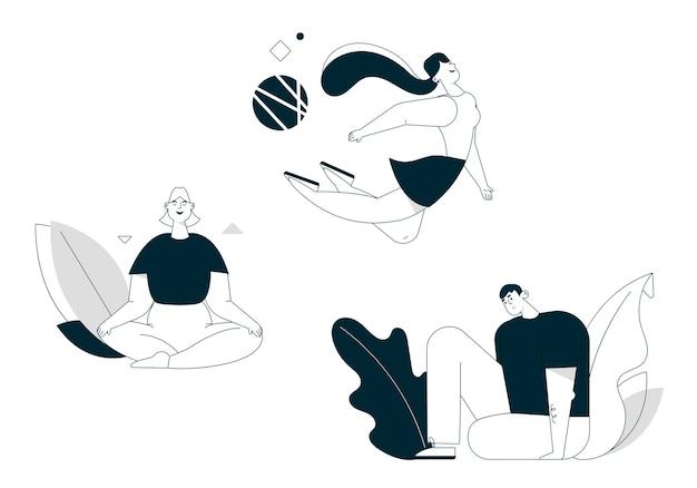Illustrazione di carattere lineare di vettore di stile di vita sano, mantenere l'equilibrio impostato. la donna sorridente medita nella posizione del loto, volare, seduto in asana yoga