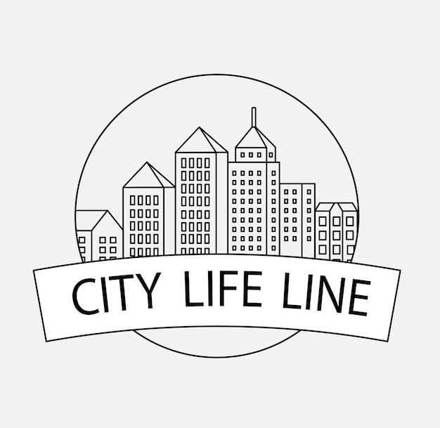 Vector edifici urbani lineari e illustrazioni di case e segni architettonici. per la progettazione di siti web, biglietti da visita, inviti e volantini sul tema urbano con una grafica fashion lineare.