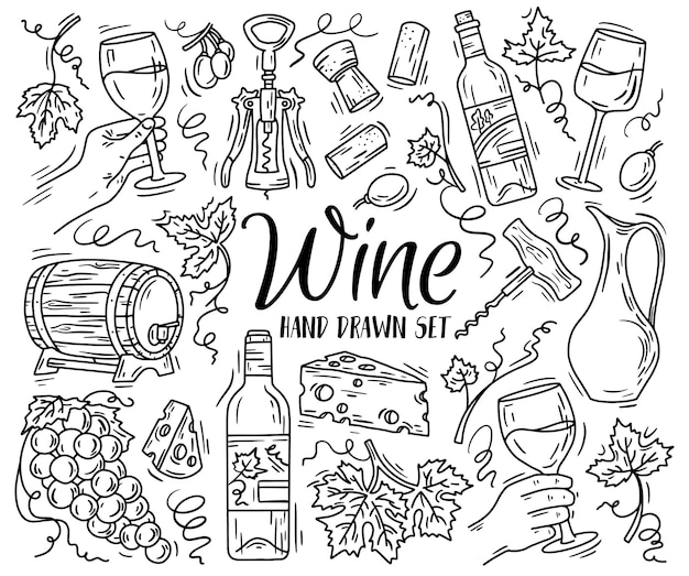 Set lineare vettoriale con vino e formaggio in stile schizzo doodle