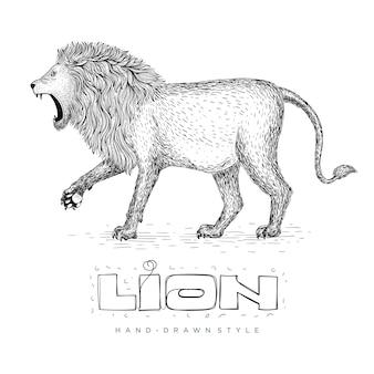 Vettore di un leone che cammina, illustrazione animale disegnato a mano