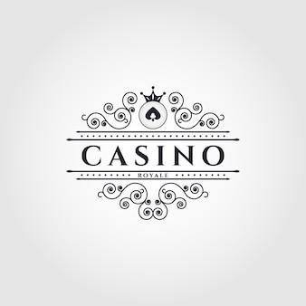 Logo vettoriale per casino vintage poker e casinò set di emblemi o loghi di gioco d'azzardo neri vettoriali