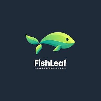 Vector logo illustration abstract fish fish formato da foglie impilate stile colorato stile