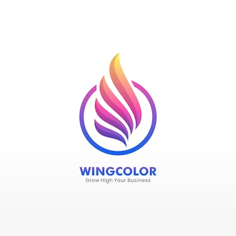 Logo style vector abstract flying wing stacked shape colorful style