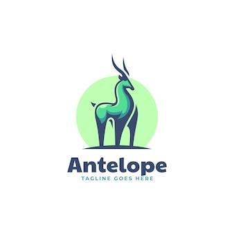 Illustrazione logo vettoriale stile mascotte semplice antilope