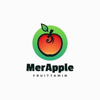 Illustrazione di logo di vettore stile variopinto di gradiente di mela