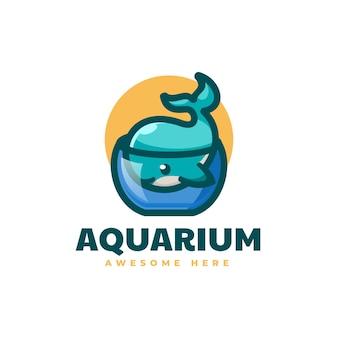 Illustrazione logo vettoriale acquario balena stile semplice mascotte