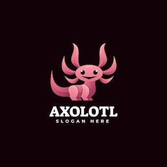 Illustrazione di logo di vettore stile variopinto di gradiente di axolotl