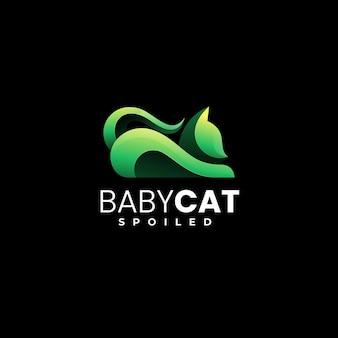Illustrazione di logo di vettore stile variopinto di gradiente del gatto del bambino