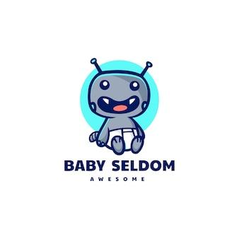 Illustrazione di logo di vettore mascotte del mostro del bambino in stile cartone animato
