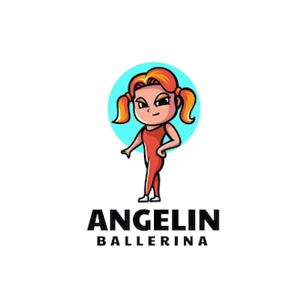 Vector logo illustration ballerina mascotte stile cartone animato