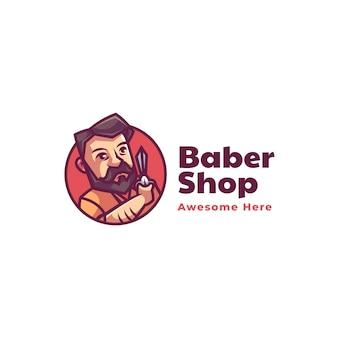 Illustrazione di logo di vettore stile del fumetto della mascotte del negozio di barbiere