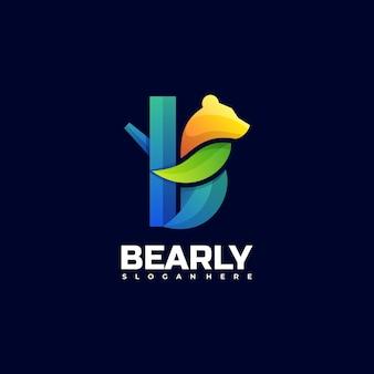 Vector logo illustration bear gradient colorful style.