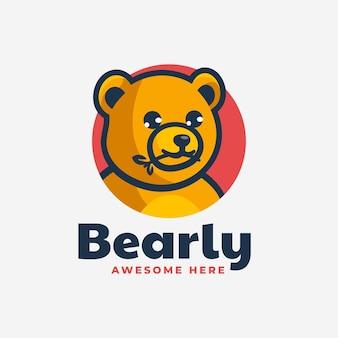 Illustrazione di logo di vettore stile semplice mascotte dell'orso