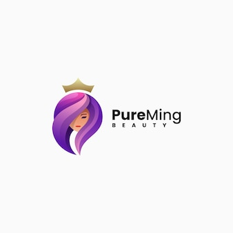 Illustrazione logo vettoriale bella donna stile colorato sfumato