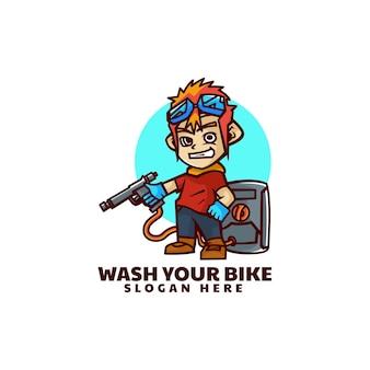 Illustrazione di logo di vettore stile del fumetto della mascotte del lavaggio della bici.