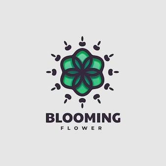 Illustrazione di logo di vettore fiore di fioritura semplice stile mascotte