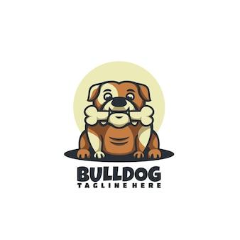 Illustrazione di logo di vettore bulldog mascotte stile cartone animato