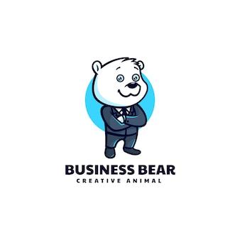 Illustrazione logo vettoriale uomo affari orso mascotte stile cartone animato
