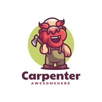 Illustrazione di logo di vettore mascotte del carpentiere in stile cartone animato