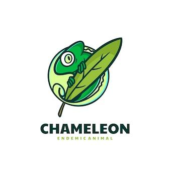 Illustrazione di logo di vettore stile semplice della mascotte del camaleonte
