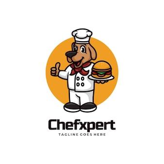 Illustrazione di logo di vettore stile del fumetto della mascotte esperta del cuoco unico.