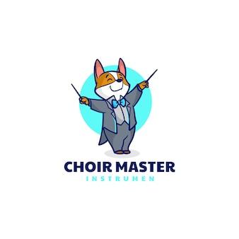 Illustrazione logo vettoriale maestro coro volpe mascotte stile cartone animato