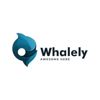 Vector logo illustrazione cerchio balena gradiente stile colorato