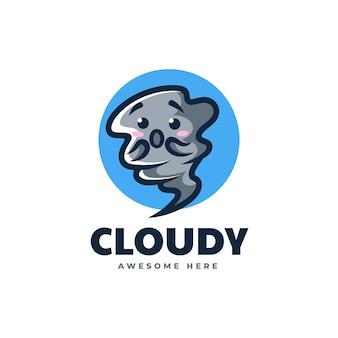 Illustrazione di logo di vettore mascotte della nuvola in stile cartone animato