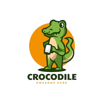 Illustrazione logo vettoriale stile mascotte semplice coccodrillo