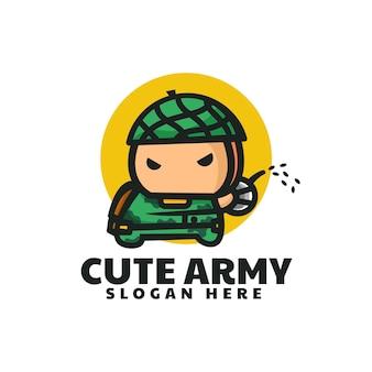 Illustrazione di logo di vettore stile sveglio della mascotte dell'esercito carino
