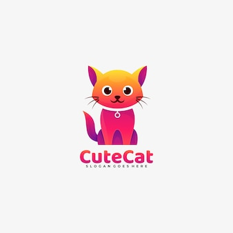 Vector logo illustration cute cat gradient colorful style.