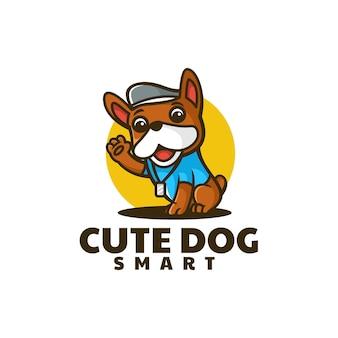 Illustrazione di logo di vettore stile sveglio del fumetto della mascotte del cane