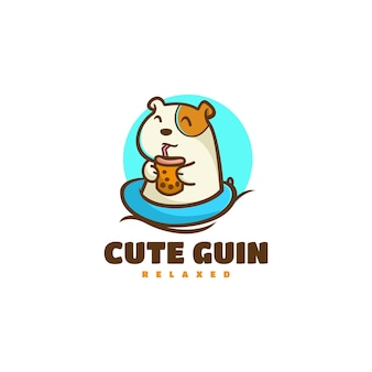Illustrazione di logo di vettore carino cavia mascotte stile cartone animato