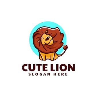 Illustrazione logo vettoriale leone sveglio stile semplice mascotte
