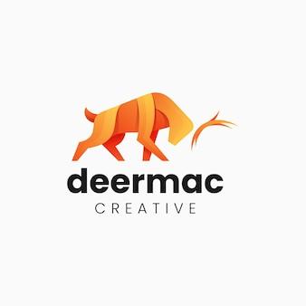 Vector logo illustrazione cervo gradiente stile colorato