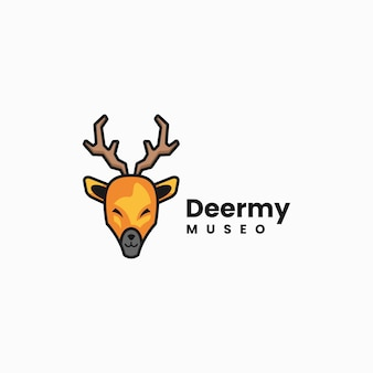 Illustrazione di logo di vettore stile semplice della mascotte dei cervi