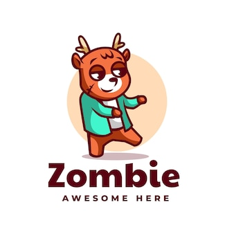 Vector logo illustration cervo zombie mascotte cartoon style