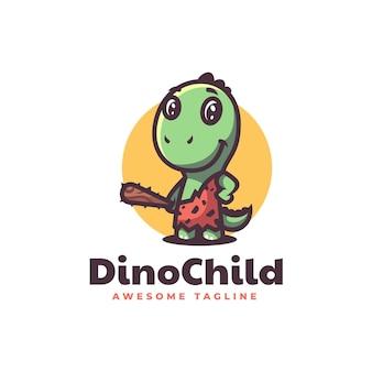 Illustrazione di logo di vettore dino bambino mascotte stile cartone animato