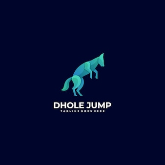 Vector logo illustration dog jump gradient colorful style.