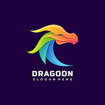 Vector logo illustration dragon gradient colorful style.
