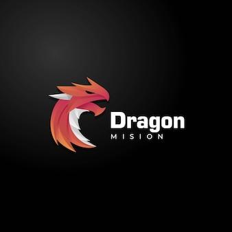 Illustrazione di logo di vettore stile variopinto di gradiente del drago