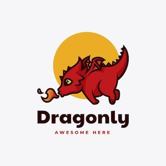 Illustrazione di logo di vettore mascotte del drago in stile cartone animato