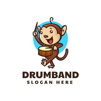 Illustrazione di logo di vettore tamburo scimmia mascotte stile cartone animato